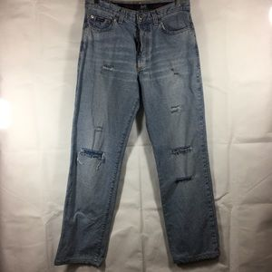 D&G Distressed Boot Cut Button Front Jeans Size 32